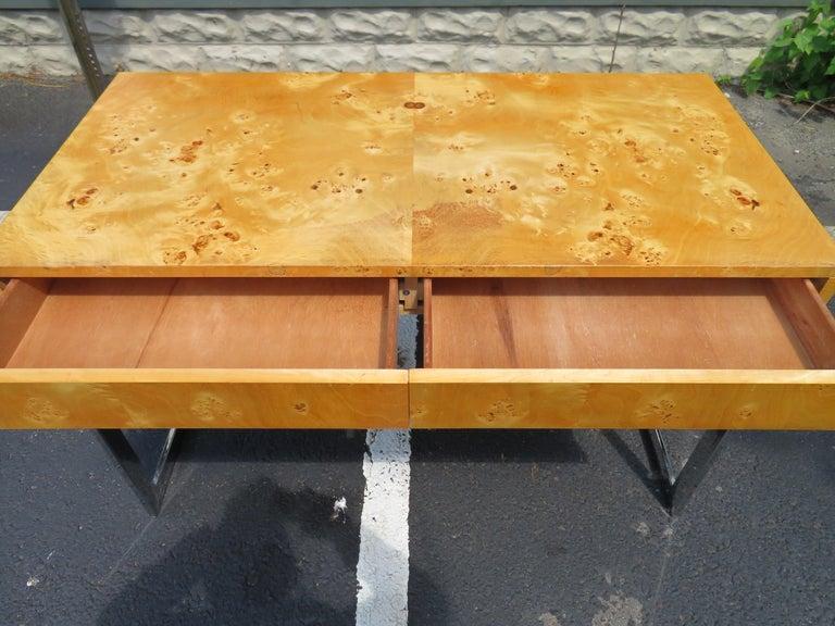 Wonderful Milo Baughman Olivewood Chrome Desk Mid-Century Modern For Sale 5
