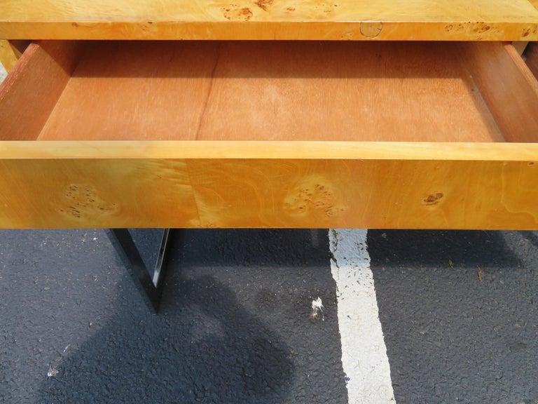 Wonderful Milo Baughman Olivewood Chrome Desk Mid-Century Modern For Sale 6