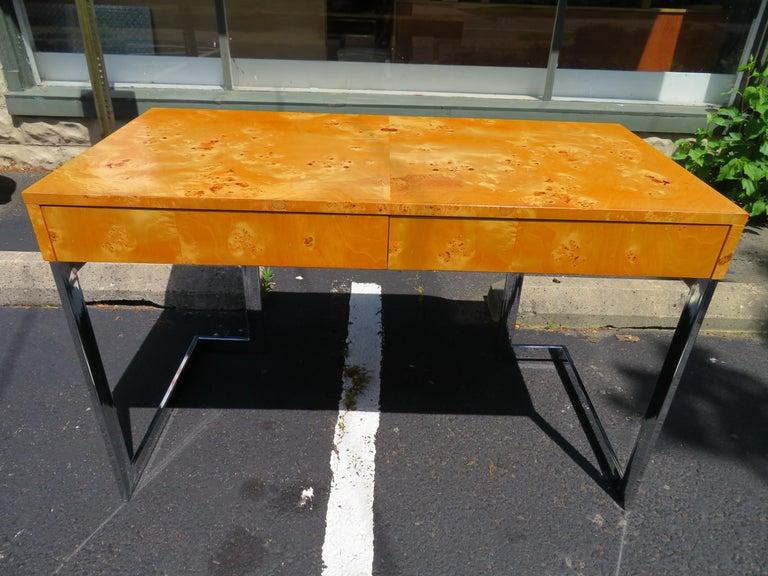 Wonderful Milo Baughman Olivewood Chrome Desk Mid-Century Modern For Sale 10