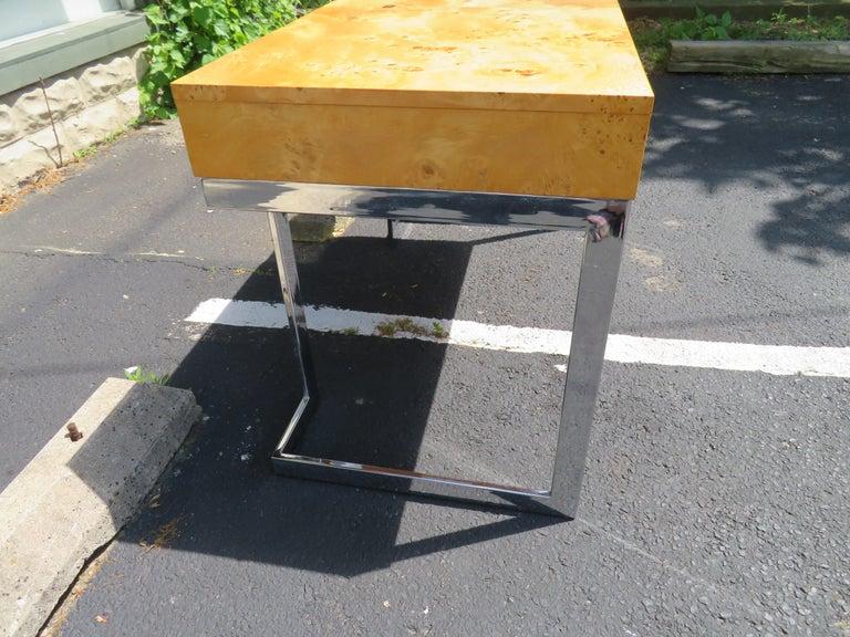 American Wonderful Milo Baughman Olivewood Chrome Desk Mid-Century Modern For Sale