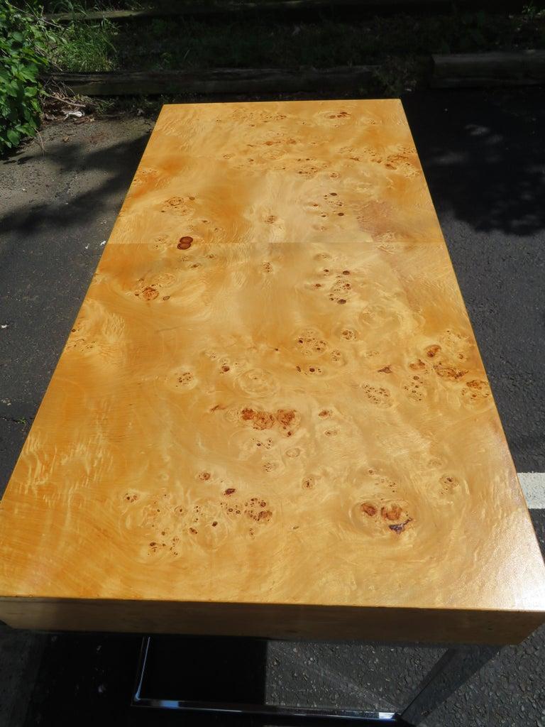 Late 20th Century Wonderful Milo Baughman Olivewood Chrome Desk Mid-Century Modern For Sale