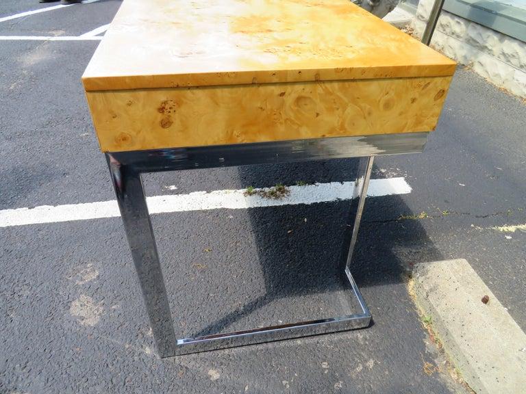Wonderful Milo Baughman Olivewood Chrome Desk Mid-Century Modern For Sale 2