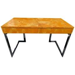 Wonderful Milo Baughman Olivewood Chrome Desk Mid-Century Modern