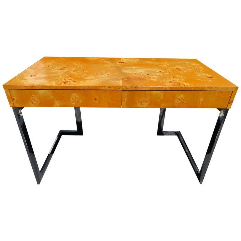 Wonderful Milo Baughman Olivewood Chrome Desk Mid-Century Modern For Sale