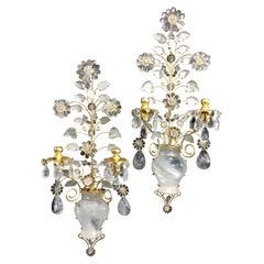 Wonderful Modern Transitional Gold Gilt Baguès Rock Crystal Mid Century Sconces