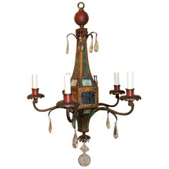 Wonderful Moroccan Tole Vintage Mirrored Crystal Fixture Hand Painted Chandelier