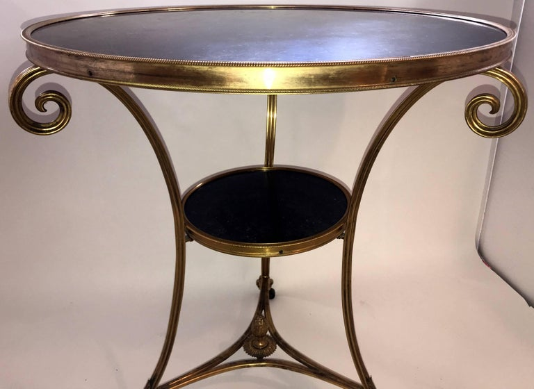 Wonderful Neoclassical Bronze Ormolu Gilt Black Marble Louis XVI Gueridon Table In Good Condition For Sale In Roslyn, NY