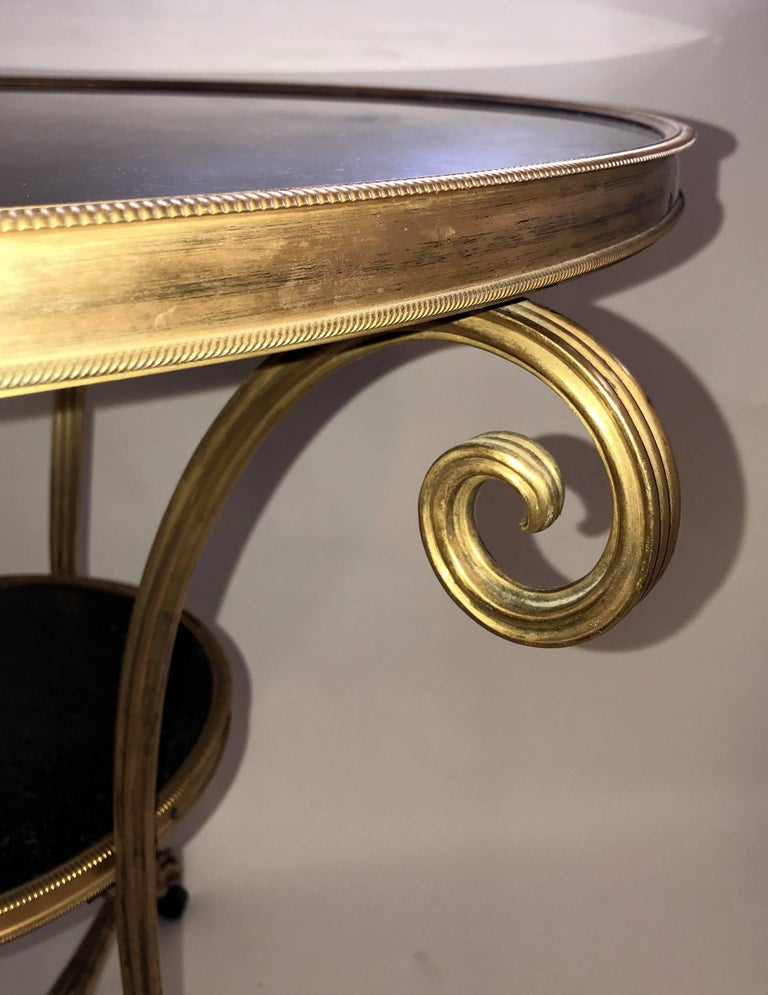 Wonderful Neoclassical Bronze Ormolu Gilt Black Marble Louis XVI Gueridon Table For Sale 1