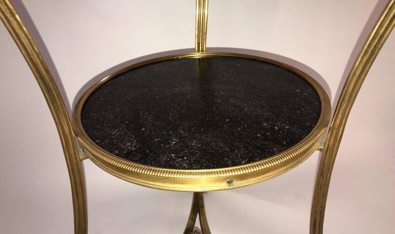 Wonderful Neoclassical Bronze Ormolu Gilt Black Marble Louis XVI Gueridon Table For Sale 2