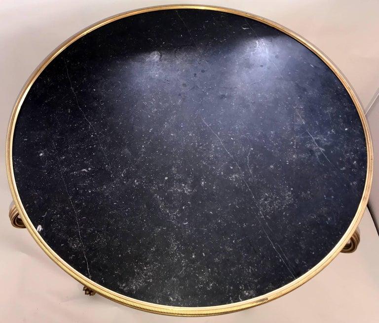 Wonderful Neoclassical Bronze Ormolu Gilt Black Marble Louis XVI Gueridon Table For Sale 3