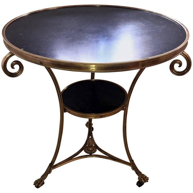 Wonderful Neoclassical Bronze Ormolu Gilt Black Marble Louis XVI Gueridon Table For Sale