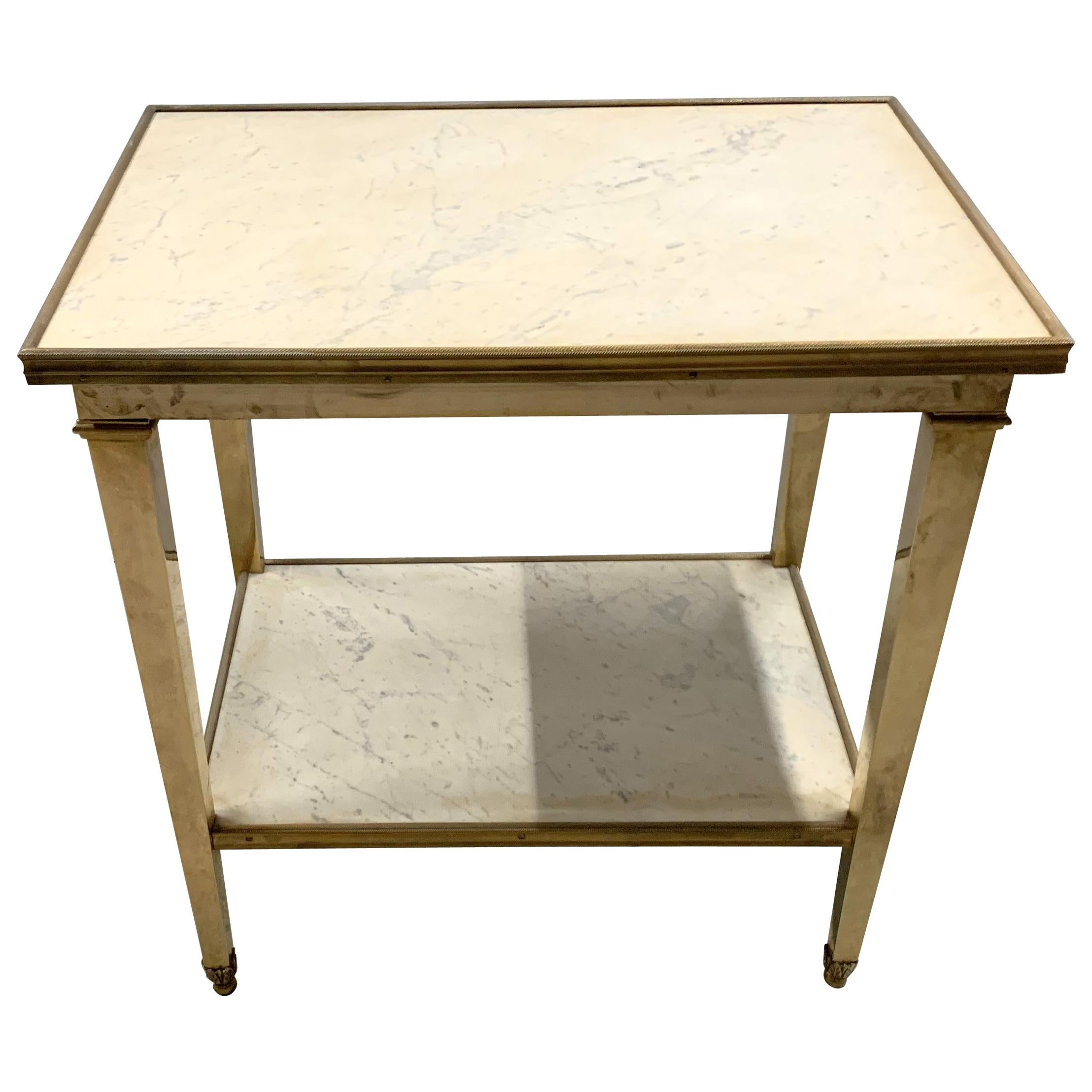 Wonderful Neoclassical French Gilt Bronze Marble Two-Tier Gueridon End Table