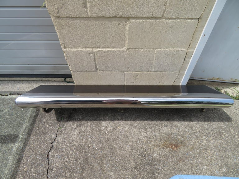 Wonderful Pace Collection Style Chrome Wall Shelf Console Table Mid-Century Mode In Good Condition For Sale In Medford, NJ