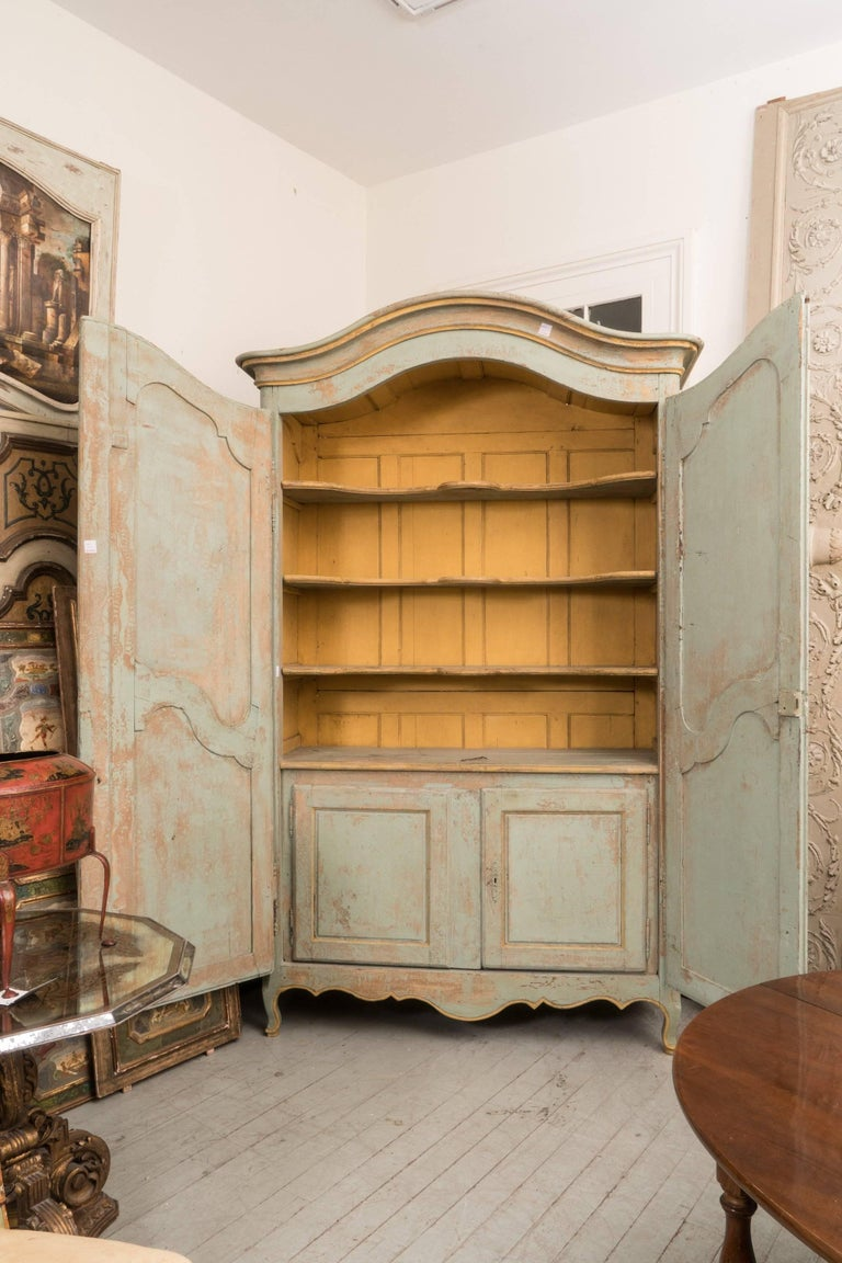 French Wonderful Painted 19th Century Armoire or Buffet Deux Corps For Sale