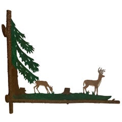 Wonderful Painted Two Sided Iron Sign with Bucolic Deer
