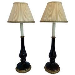 Wonderful Pair of Amethyst Crystal Glass Bronze Candlestick Column Lamps