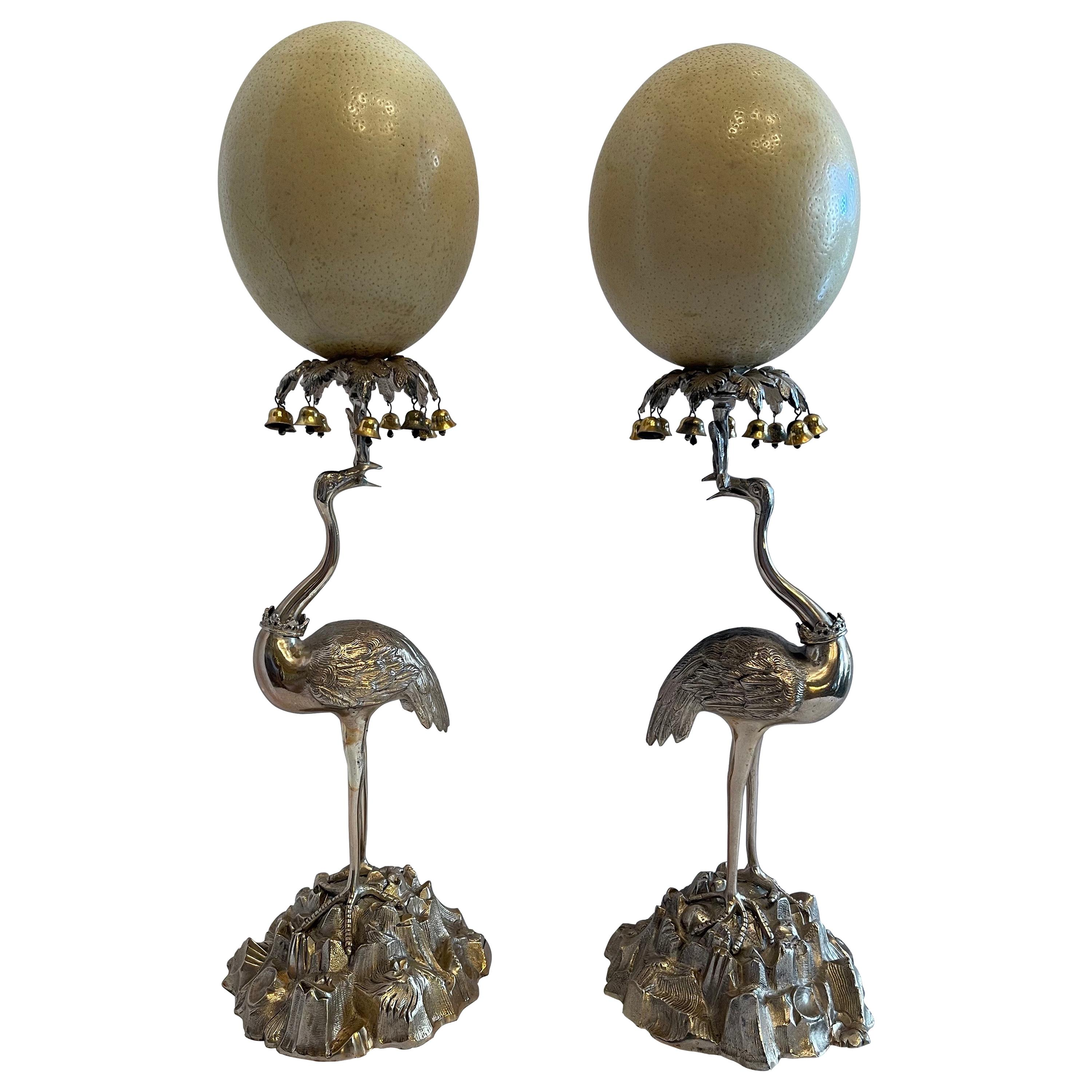 Wonderful Pair of Anthony Redmile Silver Plated Storks Ostrich Eggs Brass Bells