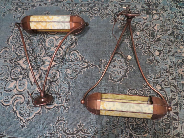 Wonderful Pair Art Deco Tiffany Style Bronze Picture Light for Art Illumination For Sale 5