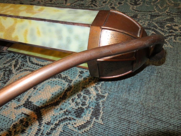 Wonderful Pair Art Deco Tiffany Style Bronze Picture Light for Art Illumination For Sale 6