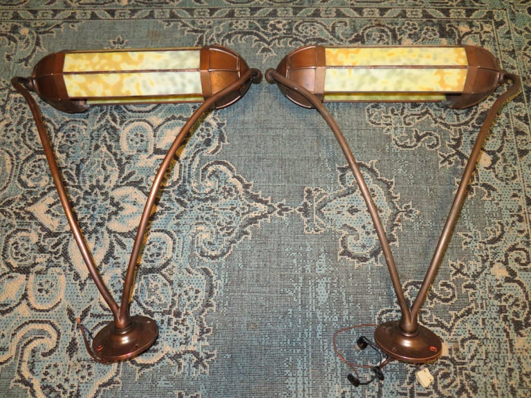 Wonderful Pair Art Deco Tiffany Style Bronze Picture Light for Art Illumination For Sale 9