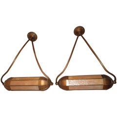 Wonderful Pair Art Deco Tiffany Style Bronze Picture Light for Art Illumination