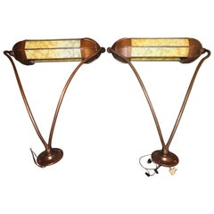 Wonderful Pair Art Deco Tiffany Style Bronze Picture Light for Art Illumination