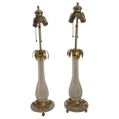 Wonderful Pair Baccarat French Cut Crystal Bronze Ormolu Mounted Palm Tree Lamps