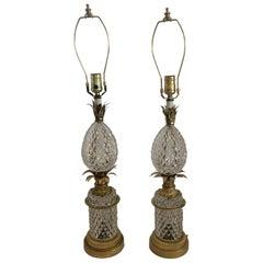 Wonderful Baccarat French Cut Crystal Bronze Ormolu Mounted Pineapple Lamps Pair