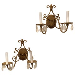 Wonderful Pair of Baguès Fleur-de-Lis Bronze Two-Arm Petite Rock Crystal Sconces
