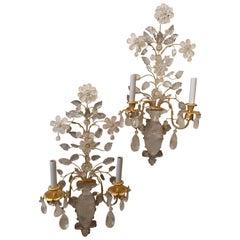 Wonderful Pair of Baguès Gold Gilt Rock Crystal Urn 2-Arm Flower Leaf Sconces