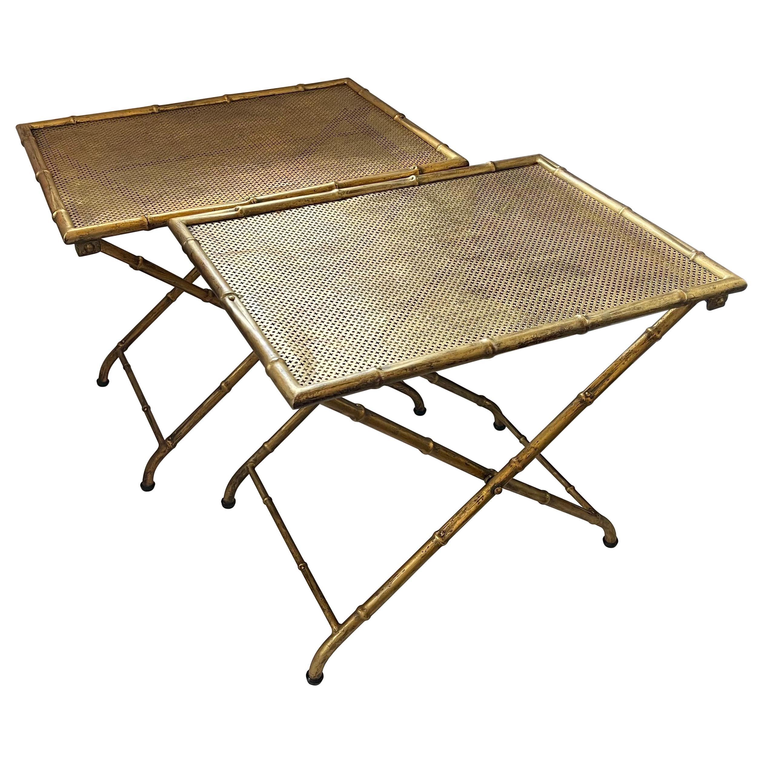 Wonderful Pair Bamboo Form Tole Gold Gilt Folding Rectangular Side Tables