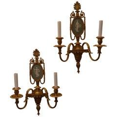Wonderful Pair Caldwell Green Wedgwood Doré Bronze Ormolu Neoclassical Sconces
