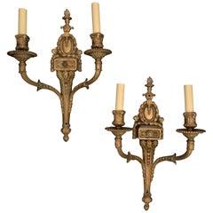 Wonderful Pair of Caldwell Style Gilt Bronze Patina Putti Cherub Sconces
