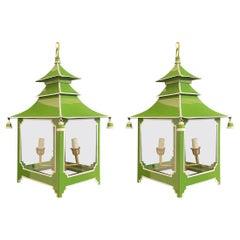 Wonderful Pair Chinoiserie Pagoda Green Enameled White Glass Lantern Fixtures