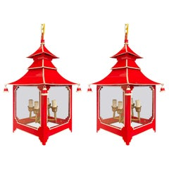 Wonderful Pair Chinoiserie Pagoda Red Enameled White Trim Glass Lantern Fixture