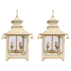 Wonderful Pair Chinoiserie Pagoda White Enameled Gold Trim Glass Lantern Fixture