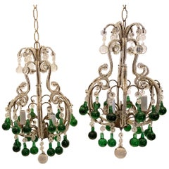 Wonderful Pair Crystal Beaded Emerald Green Italian Petite Chandeliers Fixtures