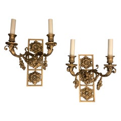 Wonderful Pair E. F. Caldwell Neoclassical Bronze Wreath Swag Two-Arm Sconces