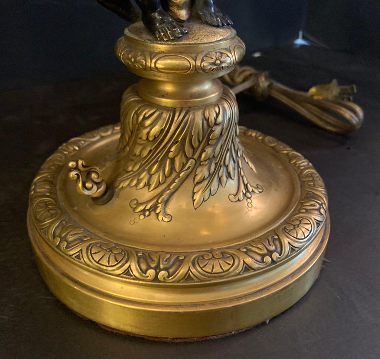 American Wonderful Pair E.F. Caldwell Stamped French Bronze Patinated Putti Cherub Lamps For Sale