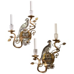 Wonderful Pair Faux Rock Crystal Glass Bird Urn Form Gold Gilt Bagues Sconces