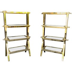 Wonderful Pair Four Tier Polished Brass Bronze Mirror Lorin Marsh Side Tables