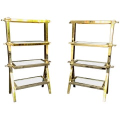 Wonderful Pair of Four-Tier Polished Brass Bronze Mirror Lorin Marsh Side Tables