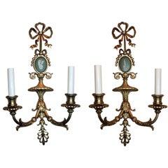 Wonderful Pair French Bow Top Gilt Bronze Green Wedgwood Jasper Plaque Sconces
