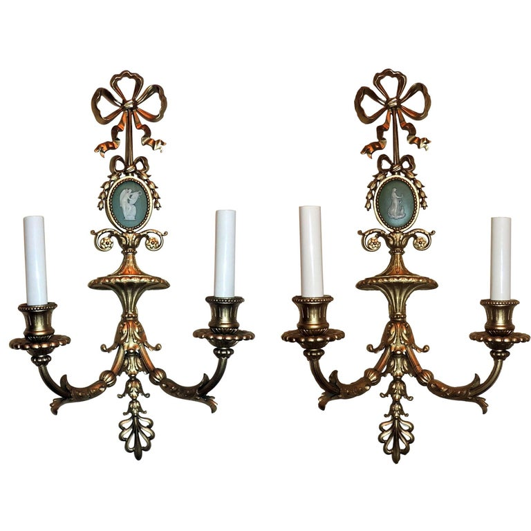 Wonderful Pair French Bow Top Gilt Bronze Green Wedgwood Jasper Plaque Sconces For Sale