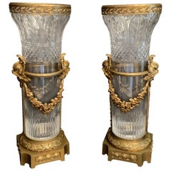 Wonderful Pair French Bronze Crystal Baccarat Ormolu Mounted Dolphin Vases