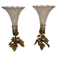 Wonderful Pair French Bronze Foliate Leaf Ormolu Crystal Glass Scalloped Vases