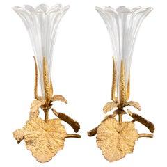 Wonderful Pair French Bronze Ormolu Crystal Scalloped Glass Foliate Leaf Vases