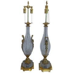 Wonderful Pair French Gilt Dore Bronze Cut Crystal Baccarat Urn Form Lamps