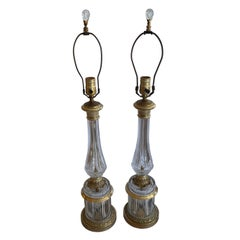 Wonderful Pair of French Neoclassical Bronze Crystal Ormolu Column Lamps