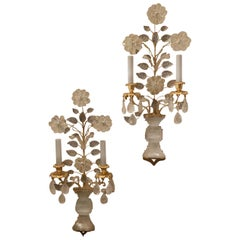 Wonderful Pair Gold Gilt Rock Crystal Baguès Mid-Century Modern 2-Light Sconces
